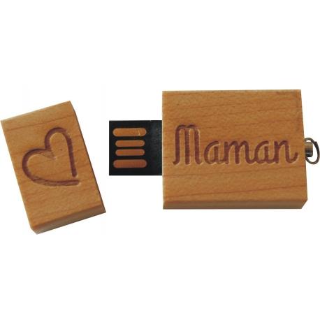Clés USB 2GO bois coeur