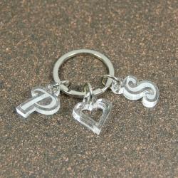 Porte clés breloques initiales coeur