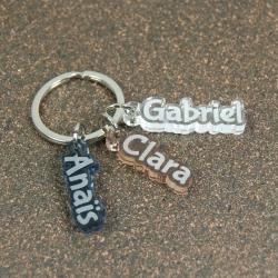 Porte clés breloques trio de prénoms