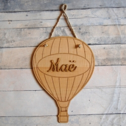 Pancarte prénom bois motif montgolfière