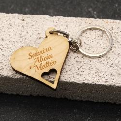 Porte clés coeur multi érable