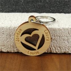 Porte clés coeur multi prénoms érable