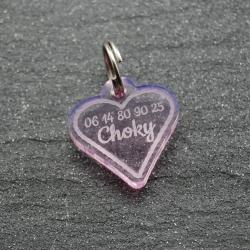 Médaille petit coeur rose PM