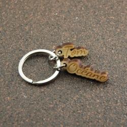 Porte clés breloques deux prénoms érable