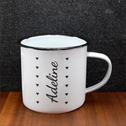 Mug vintage prénom coeurs