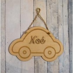 Pancarte prénom bois motif voiture