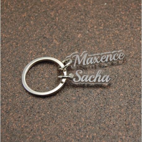 Porte clés breloques deux prénoms plexi