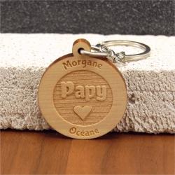 Porte clés  gravé papy coeur