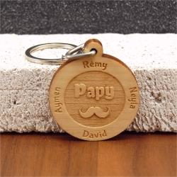 Porte clés  gravé papy moustache