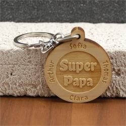 Porte clés  gravé super papa