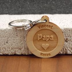 Porte clés  gravé papa coeur