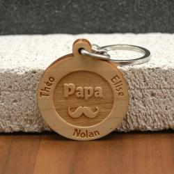 Porte clés  gravé papa moustache
