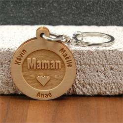 Porte clés  gravé maman coeur