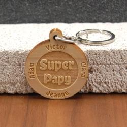 Porte clés  super papy 8 prénoms