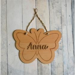 Pancarte prénom bois motif papillon