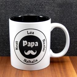 Mug céramique gravé papa moustache