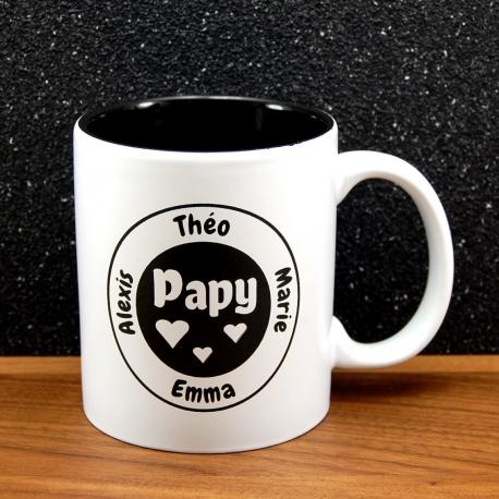 Mug céramique gravé papy coeurs