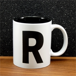 Mug céramique gravé initiale noir