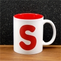 Mug céramique gravé initiale rouge