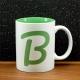 Mug céramique gravé initiale verte