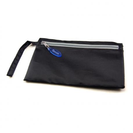 Pochette double compartiment zip bleu fluo