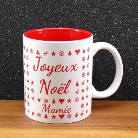 Mug céramique gravé joyeux noël rouge