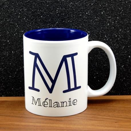 Mug céramique gravé initiale et prénom bleu