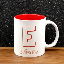 Mug céramique gravé initiale et prénom rouge