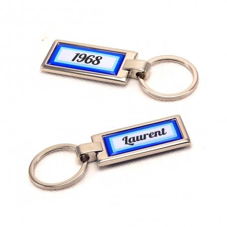 Porte clés prénom et année de naissance bleu