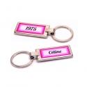 Porte clés prénom et date rose