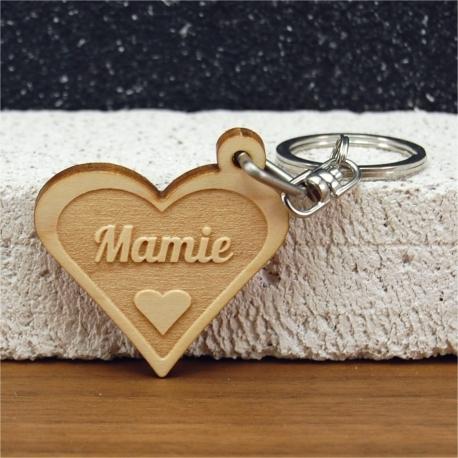 Porte clés forme de coeur mamie coeur 2 faces