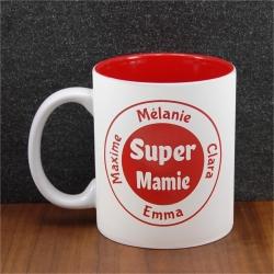 Mug céramique gravé super mamie 8 prénoms