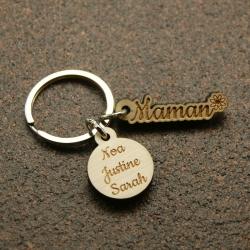 Porte clés breloques deux prénoms transparent