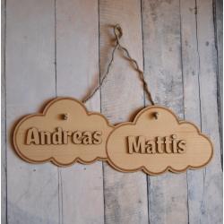 Pancarte duo de prénoms bois motif nuages