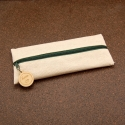 Trousse en jute/coton et zip breloque ronde