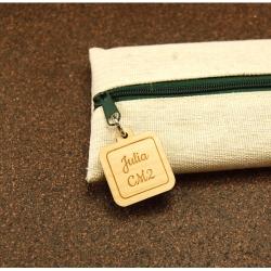 Trousse en jute/coton et zip prénom