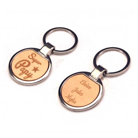 Porte clés Super Papy métal et érable