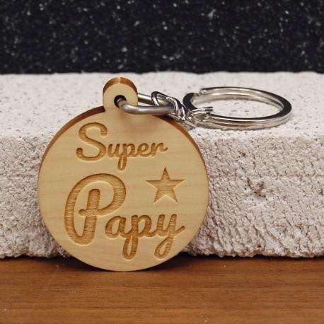 Porte clés Super Papy 2 faces 5 prénoms