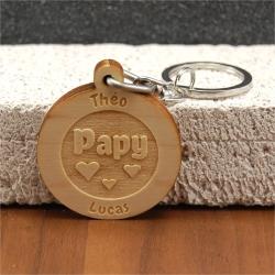 Porte clés  gravé papy petits coeurs