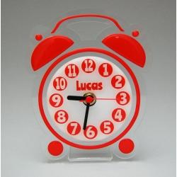 Pendule personnalisable forme réveil rouge