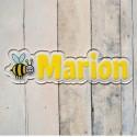 Plaque de porte prénom abeille