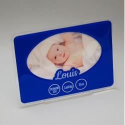 Cadre photo naissance bleu personnalisé
