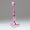 Support brosse à dents à personnaliser duo de coeurs rose pastel