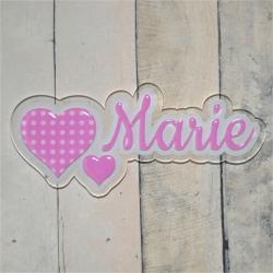 Plaque de porte duo de coeurs rose pastel