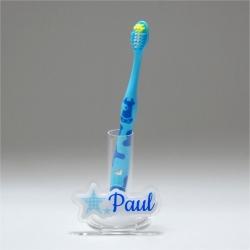 Support brosse à dents duo d'étoiles bleu pastel