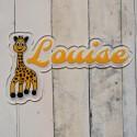 Plaque de porte prénom girafe