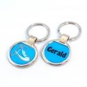 Porte clés métal basket bleue
