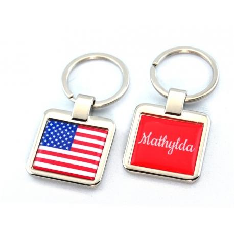 Porte clés personnalisé  drapeau américain