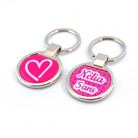 Porte clés métal coeur rose