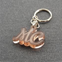 Porte clés initiales fumé bronze